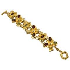 Christian Lacroix Red and Green Jeweled Link Bracelet