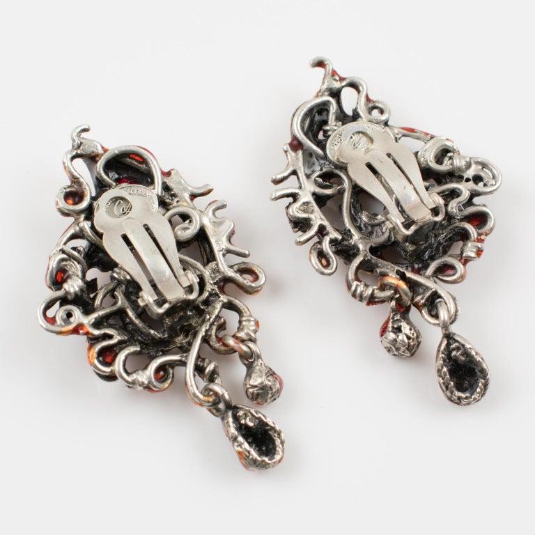 Women's or Men's Christian Lacroix Red Enamel Dangle Clip Earrings For Sale