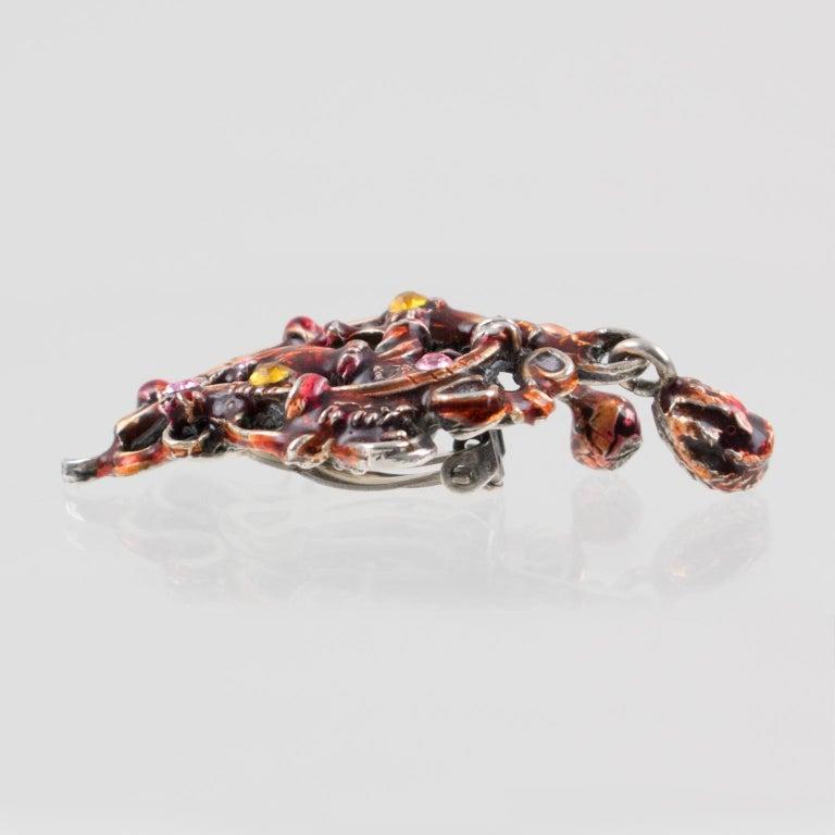 Christian Lacroix Red Enamel Dangle Clip Earrings For Sale 2