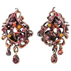 Christian Lacroix Red Enamel Dangle Clip Earrings