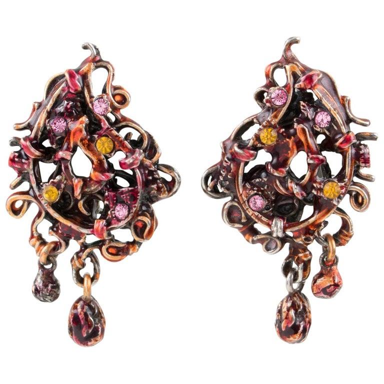 Christian Lacroix Red Enamel Dangle Clip Earrings For Sale