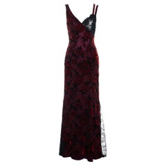 Christian Lacroix red silk devoré and black lace trained evening dress, fw 1995