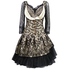 Christian Lacroix Silk and Lace Cocktail dress Circa 1995/2000