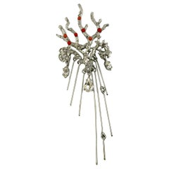 Christian Lacroix Silver Toned Jewelled Coral Branch Design Brooch