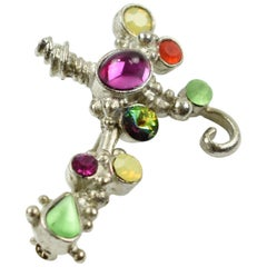 Christian Lacroix Silvered Jeweled Cross Pin Brooch