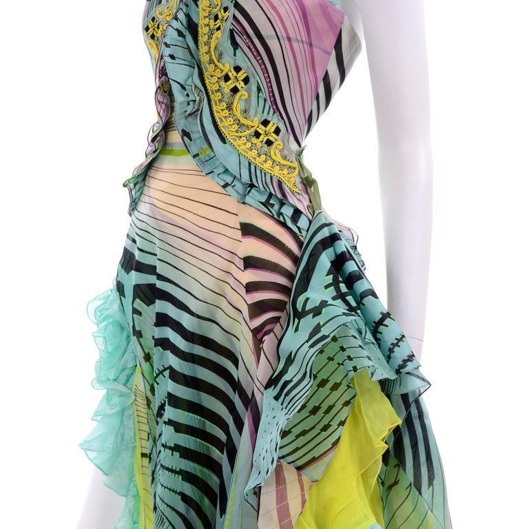 Christian Lacroix Spring 2005 Runway Silk Chiffon Ruffled Strapless Dress For Sale 7