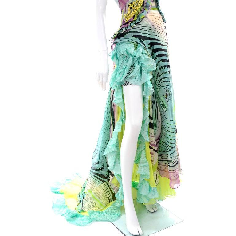 Christian Lacroix Spring 2005 Runway Silk Chiffon Ruffled Strapless Dress For Sale 8