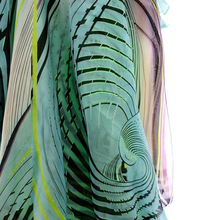 Christian Lacroix Spring 2005 Runway Silk Chiffon Ruffled Strapless Dress For Sale 9