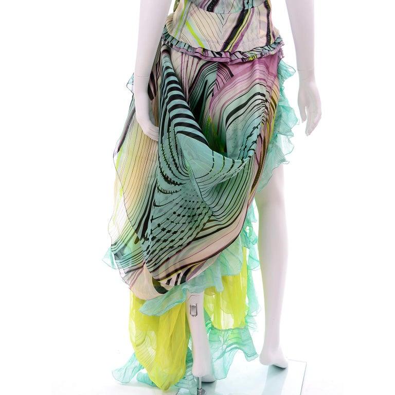 Christian Lacroix Spring 2005 Runway Silk Chiffon Ruffled Strapless Dress For Sale 10