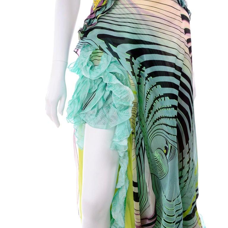 Christian Lacroix Spring 2005 Runway Silk Chiffon Ruffled Strapless Dress For Sale 11