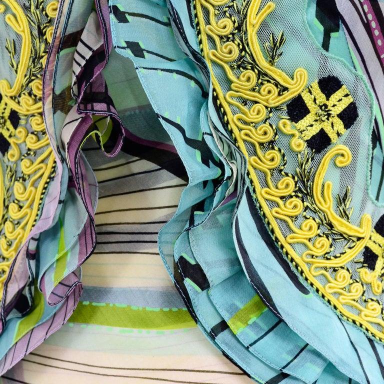 Christian Lacroix Spring 2005 Runway Silk Chiffon Ruffled Strapless Dress For Sale 12