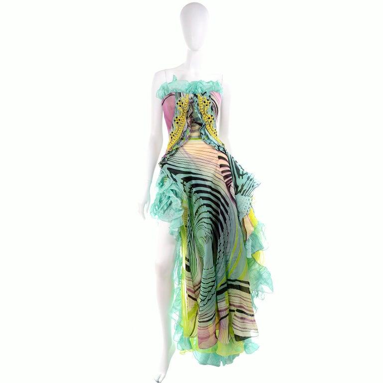 Gray Christian Lacroix Spring 2005 Runway Silk Chiffon Ruffled Strapless Dress For Sale