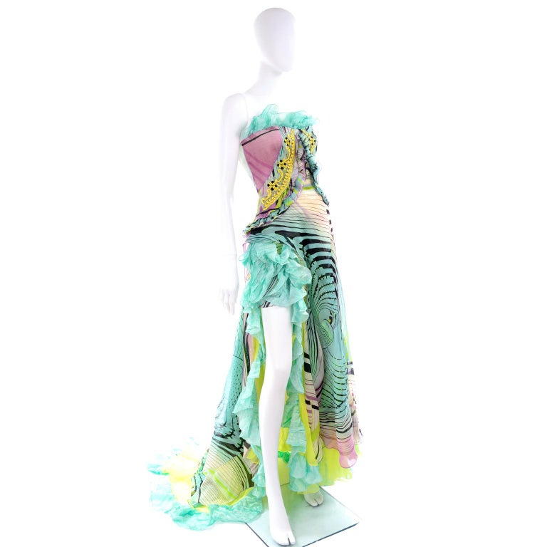 Christian Lacroix Spring 2005 Runway Silk Chiffon Ruffled Strapless Dress In Excellent Condition For Sale In Portland, OR