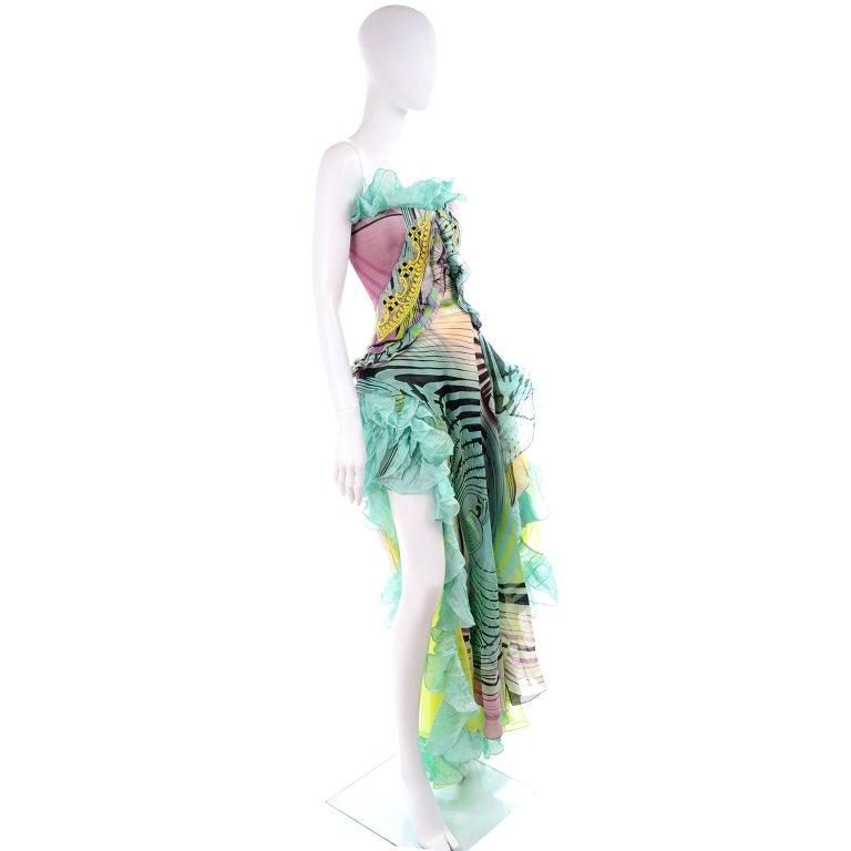 Women's Christian Lacroix Spring 2005 Runway Silk Chiffon Ruffled Strapless Dress For Sale