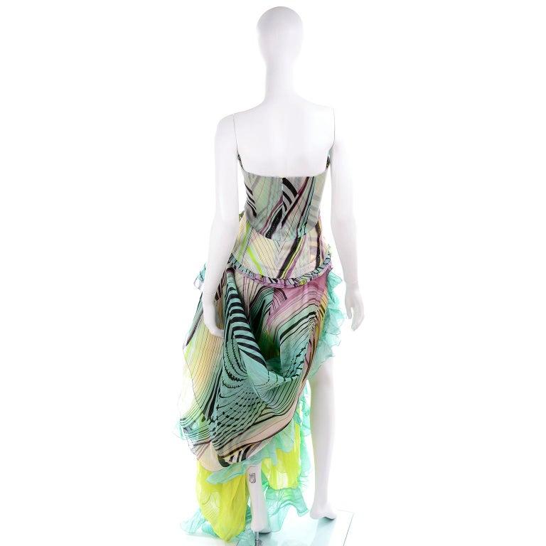 Christian Lacroix Spring 2005 Runway Silk Chiffon Ruffled Strapless Dress For Sale 1
