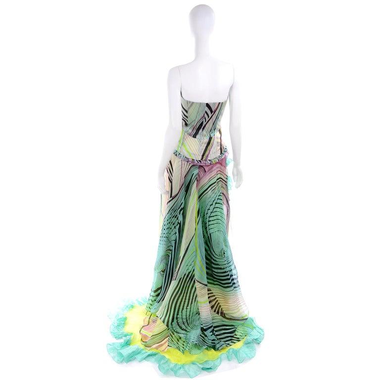 Christian Lacroix Spring 2005 Runway Silk Chiffon Ruffled Strapless Dress For Sale 2