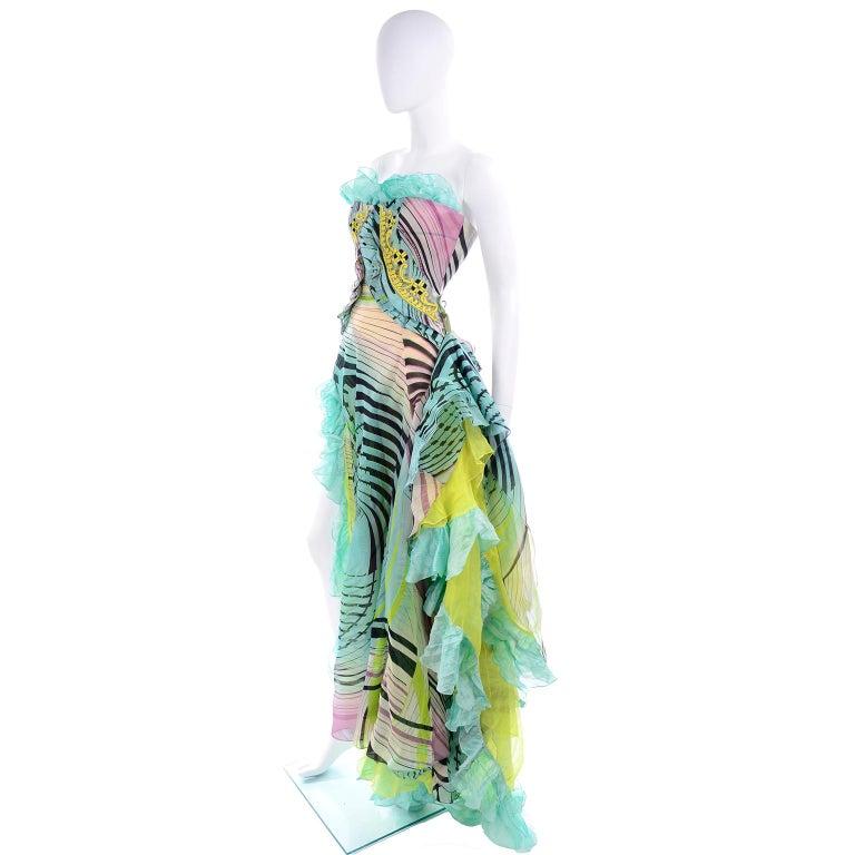Christian Lacroix Spring 2005 Runway Silk Chiffon Ruffled Strapless Dress For Sale 3