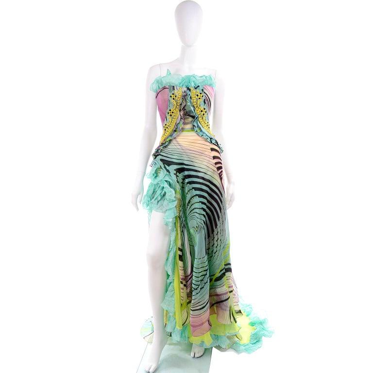 Christian Lacroix Spring 2005 Runway Silk Chiffon Ruffled Strapless Dress For Sale 4