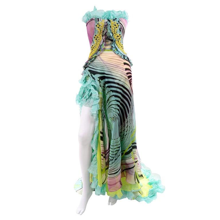 Christian Lacroix Spring 2005 Runway Silk Chiffon Ruffled Strapless Dress For Sale