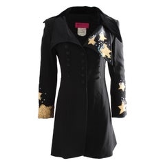 Christian Lacroix Stars and Sequins Black Structured Gabardine Velvet Jacket