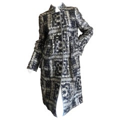 Christian Lacroix Unusual SIlver Coat with Sheer Lace Overlay