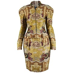 Christian Lacroix Vintage 1990s Asian Patterned Jacquard Brocade Skirt Suit