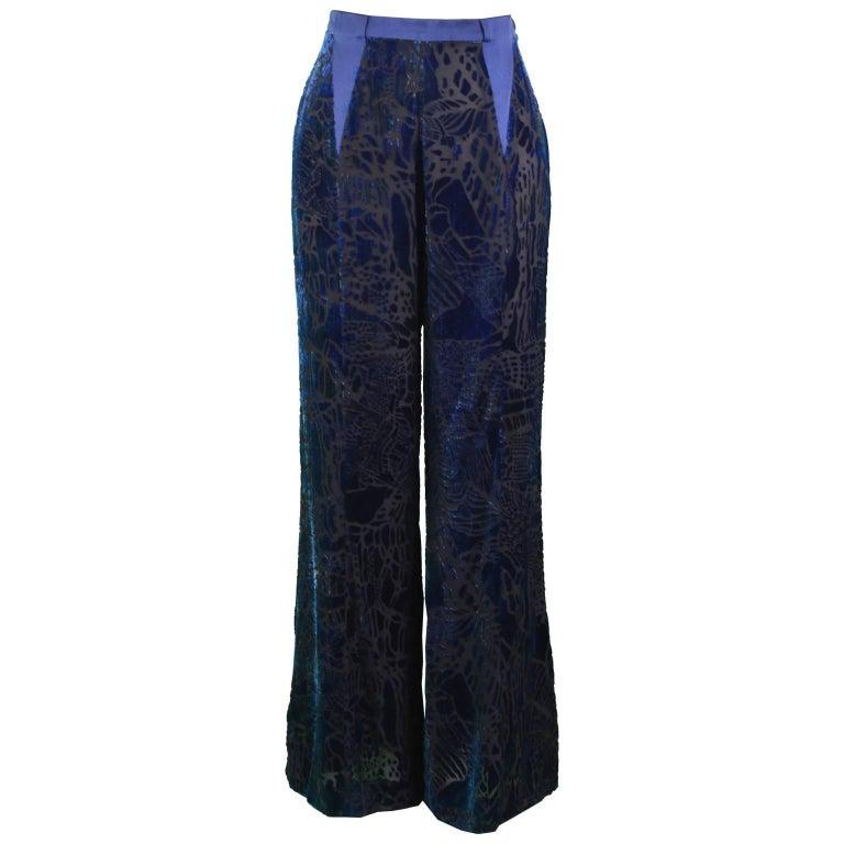 Christian Lacroix Vintage 1990s Blue Silk & Rayon Velvet Devore Palazzo Pants