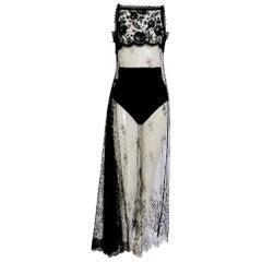 Christian Lacroix vintage 90s black silk and Chantilly lace dress