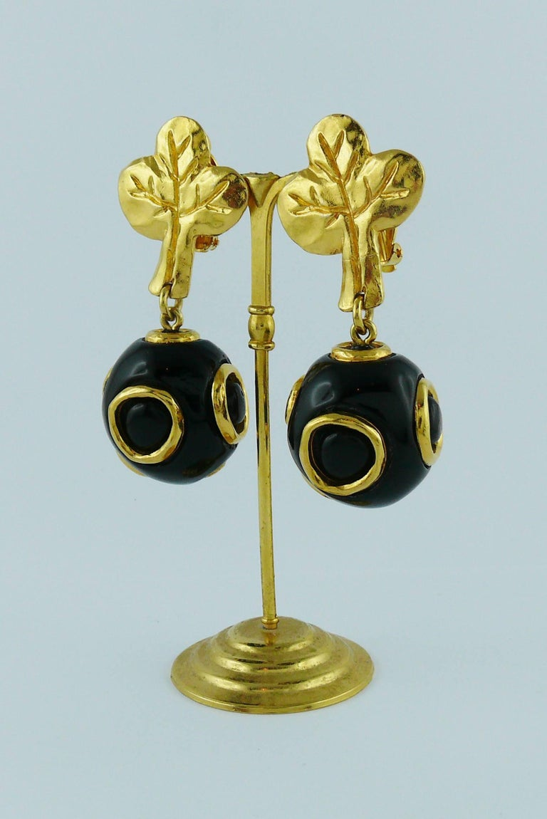 Christian Lacroix Vintage Abstract Tree and Ball Dangling Earrings For Sale 1
