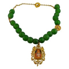 Christian Lacroix Vintage Antique Green Glass Beads and Deity Medallion Necklace