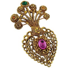 Christian Lacroix Vintage Baroque Jewelled Heart Brooch