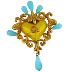 Christian Lacroix Vintage Baroque Logo Heart Yellow Enamel Brooch