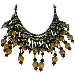 Christian Lacroix Vintage Black Glass Beads Gold Toned Balls Bib Necklace