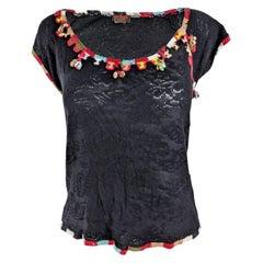 Christian Lacroix Vintage Black Pointelle Knit Top