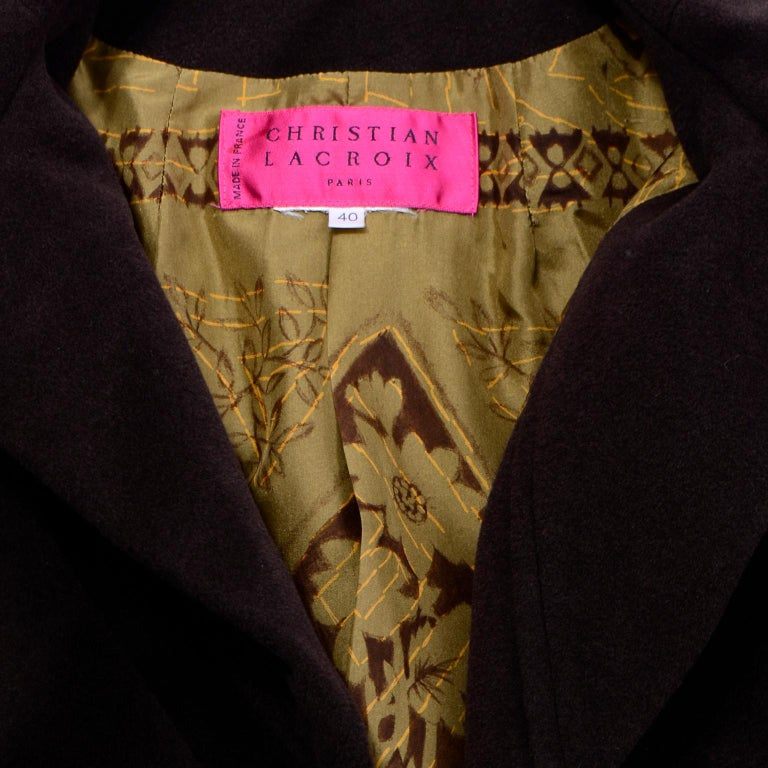 Christian Lacroix Vintage Brown Wool Coat With Red Topstitching and Neck Bow Tie For Sale 5