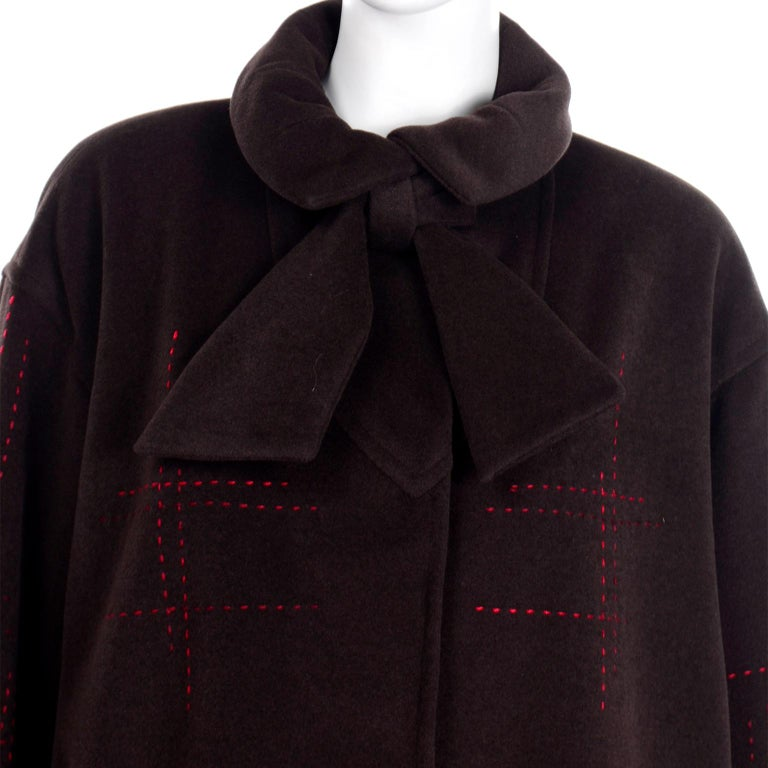 Black Christian Lacroix Vintage Brown Wool Coat With Red Topstitching and Neck Bow Tie For Sale