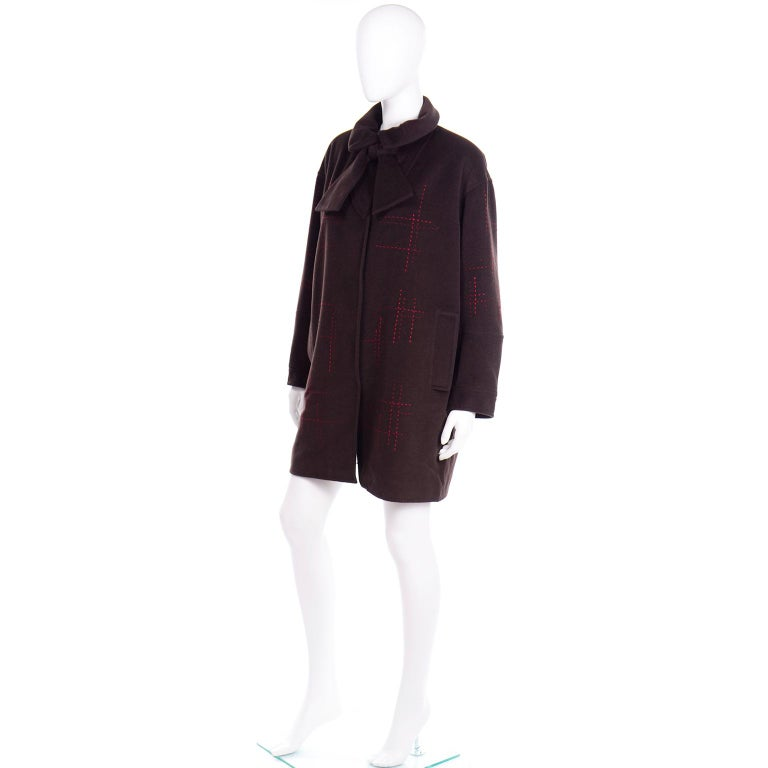 Women's Christian Lacroix Vintage Brown Wool Coat With Red Topstitching and Neck Bow Tie For Sale