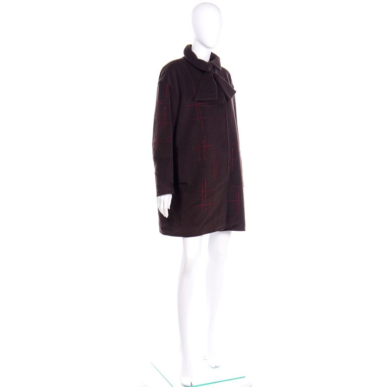 Christian Lacroix Vintage Brown Wool Coat With Red Topstitching and Neck Bow Tie For Sale 1