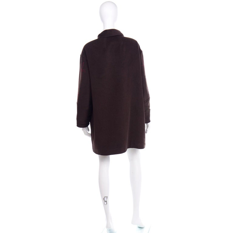Christian Lacroix Vintage Brown Wool Coat With Red Topstitching and Neck Bow Tie For Sale 2