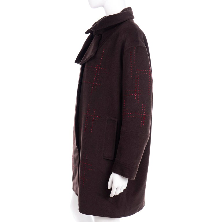 Christian Lacroix Vintage Brown Wool Coat With Red Topstitching and Neck Bow Tie For Sale 3