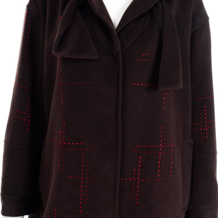 Christian Lacroix Vintage Brown Wool Coat With Red Topstitching and Neck Bow Tie For Sale 4