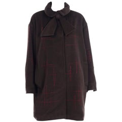 Christian Lacroix Vintage Brown Wool Coat With Red Topstitching and Neck Bow Tie
