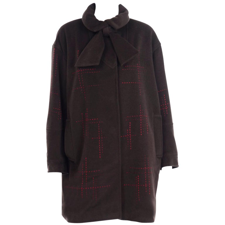Christian Lacroix Vintage Brown Wool Coat With Red Topstitching and Neck Bow Tie For Sale