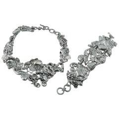 Christian Lacroix Vintage Brutalist Silver Toned Necklace and Bracelet Set
