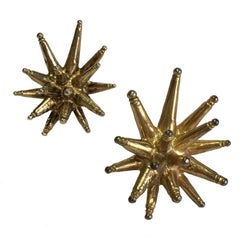 Christian Lacroix Vintage Clip-on Gilt Metal Earrings