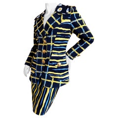 Christian Lacroix Vintage Colorful Pattern Skirt Suit with Bold Gold Buttons