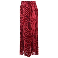 Christian Lacroix Vintage Cranberry Red Velvet Devoré Maxi Skirt, Fall 1997