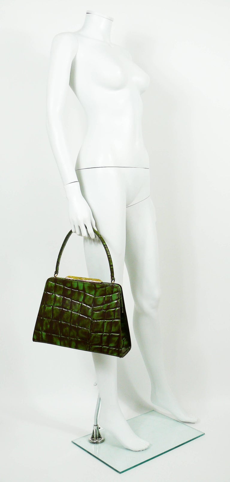 Christian Lacroix Vintage Croc Embossed Handbag In Good Condition For Sale In French Riviera, Cote d'Azur