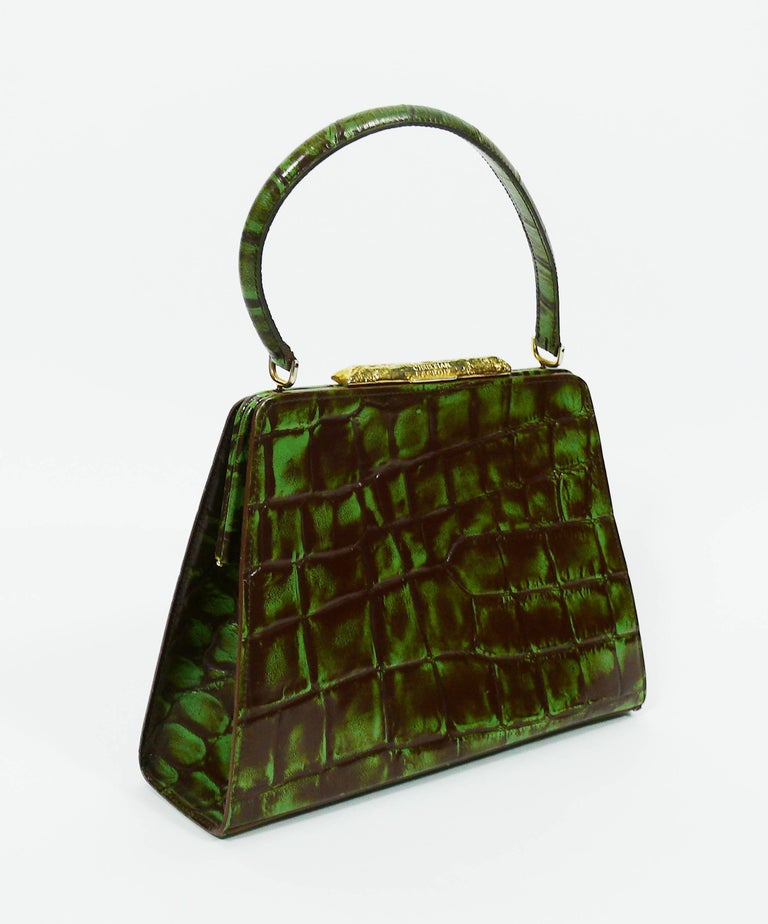 Women's Christian Lacroix Vintage Croc Embossed Handbag For Sale