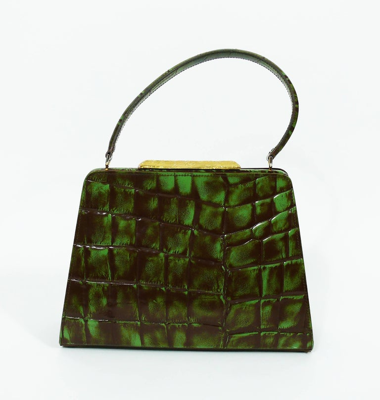 Christian Lacroix Vintage Croc Embossed Handbag For Sale 1